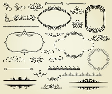 victorian frame: Lots of design elements: labels, borders, frames, etc. Could be used for page decoration, certificate, etc