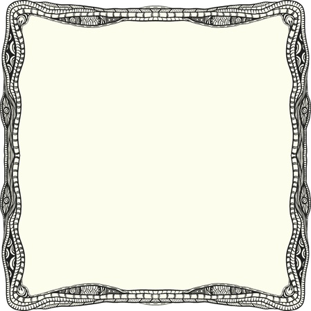 edges: Abstract detailed frame. Hand drawn. Black and white
