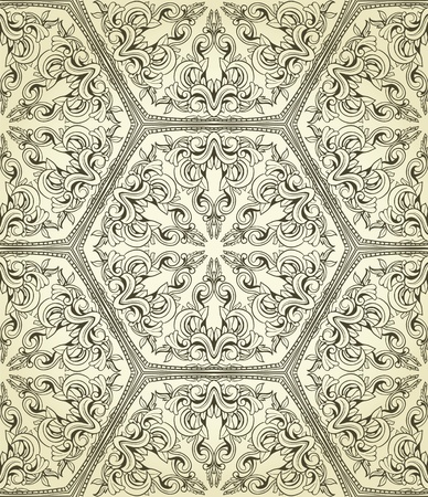 Retro seamless wallpaper. Vintage pattern with lot of details on gradient background Vector