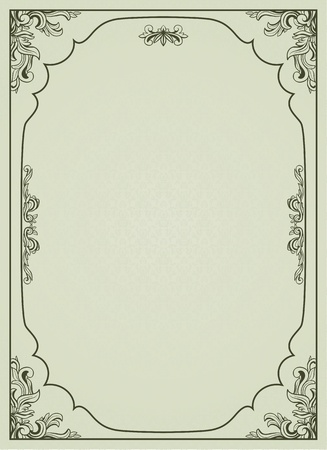 Vintage frame on damask background.