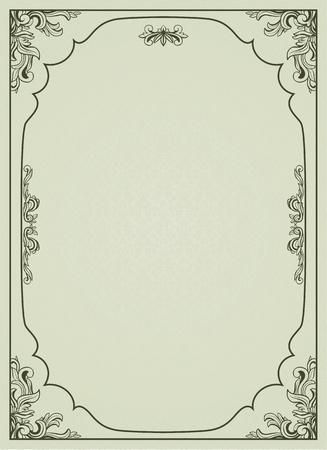 Vintage frame op damast achtergrond. Stock Illustratie
