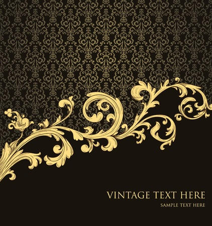 Abstract vintage background with floral retro element Vector