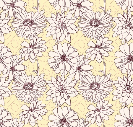Hand drawn floral seamless wallpaper with different flowers. Stock Vector - 11258598