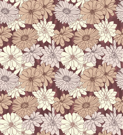 Hand drawn seamless floral wallpaper with different flowers