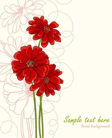 Fond élégant avec des fleurs dessinés à la main et la place pour le texte. Peut être utilisé comme invitation de mariage ou valentine Banque d'images - 11258595