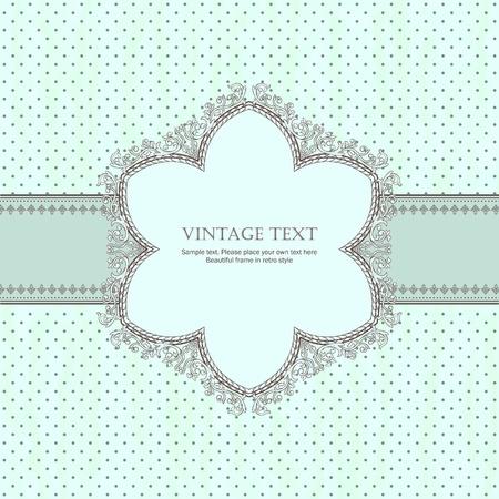 Cadre rétro détaillée avec pois fond beige Banque d'images - 11258602