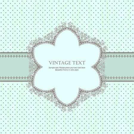 Detailed retro frame on with polka-dot beige background