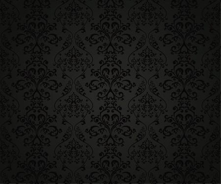 papier peint noir: Seamless floral avec un �l�ment dans le style r�tro Illustration