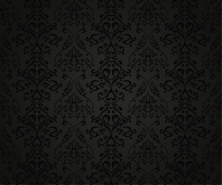 black textured background: Seamless pattern with floral element in retro style