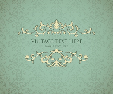 Vintage frame on seamless damask background. Background is situated on own layer and can be used separately. Vector