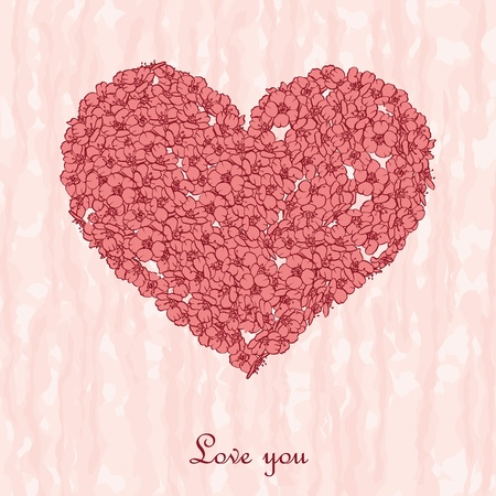 Heart from small pink flowers on pink background