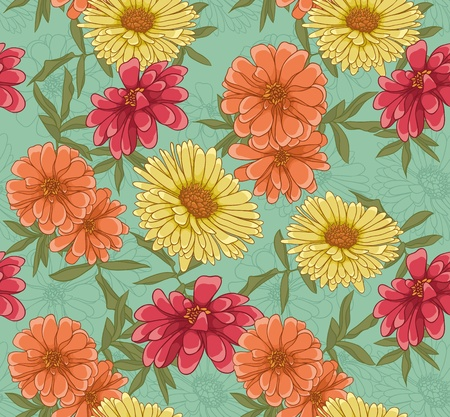 textiles: Floral seamless pattern with hand drawn flowers