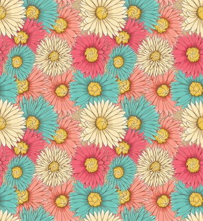 Floral seamless background with hand drawn flowers Vector