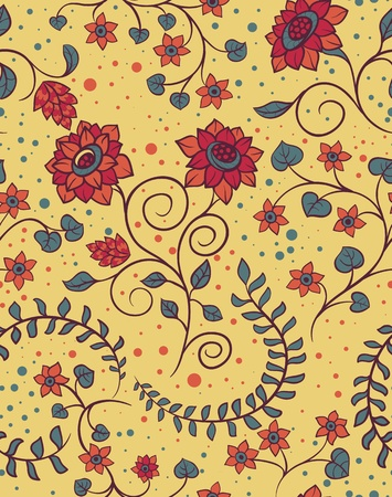 saturated color: Floral seamless pattern with hand drawn flowers