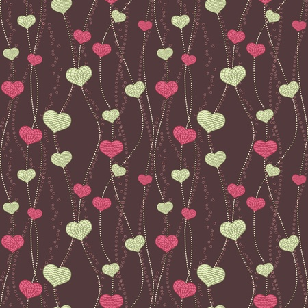 Abstract seamless wallpaper with hand drawn hearts. Imagens - 11258619