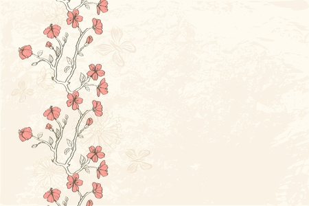 Floral background with pink hand drawn flowers and place for text Illustration