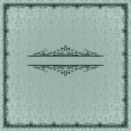 Vintage frame with floral elements on damask seamless background Vector