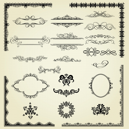 Lots of design elements: labels, borders, frames, etc. Vector