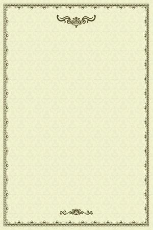 Vintage frame or diploma on damask background. Stock Vector - 11258622