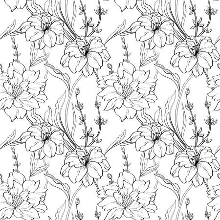 sketch pattern: Dibujado a mano papel tapiz floral con un conjunto de flores diferentes. Vectores