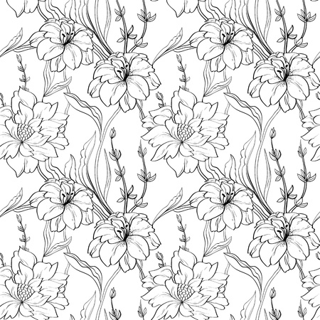 Hand drawn floral wallpaper with set of different flowers. Illustration