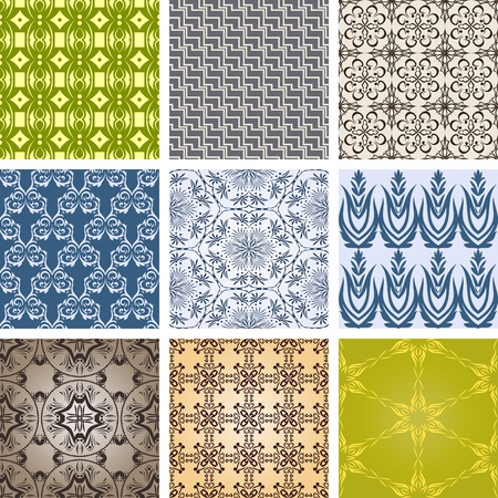 Great set of different patterns. Vintage design. Vector