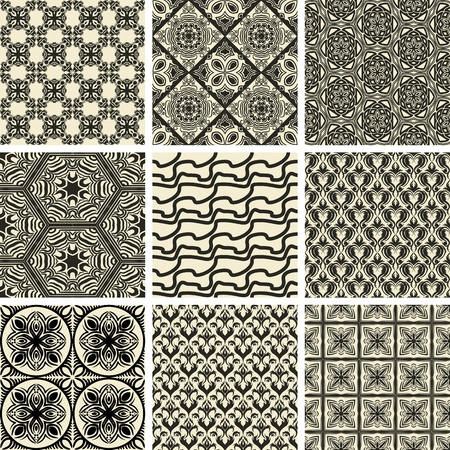 repetition: Set of nine repeating patterns in retro style