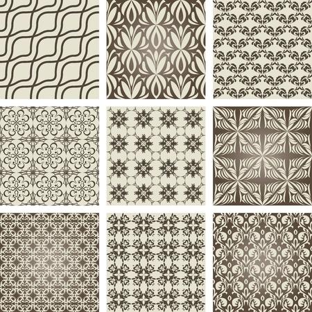 レトロなスタイルの 9 つの繰り返しパターンのセット  イラスト・ベクター素材