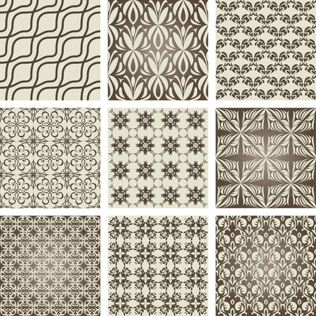Set of nine repeating patterns in retro style Vector