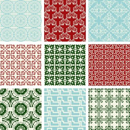 tegelwerk: Reeks van negen herhalende patronen in retro-stijl