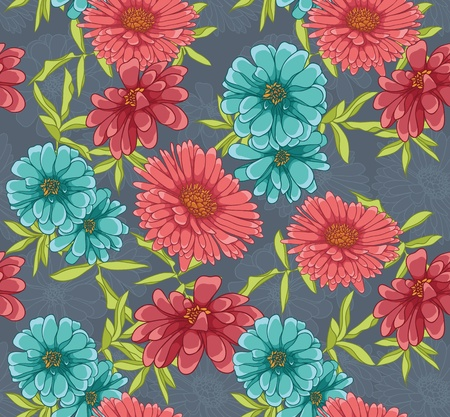 red wallpaper: Floral seamless pattern with hand drawn flowers