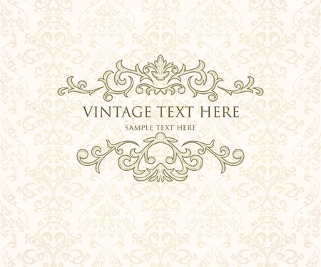 Vintage frame or diploma on damask background. Stock Vector - 11500275