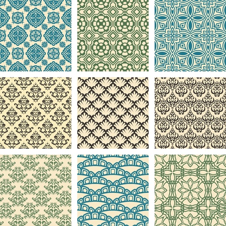 Set of nine seamless pattern in retro style Иллюстрация