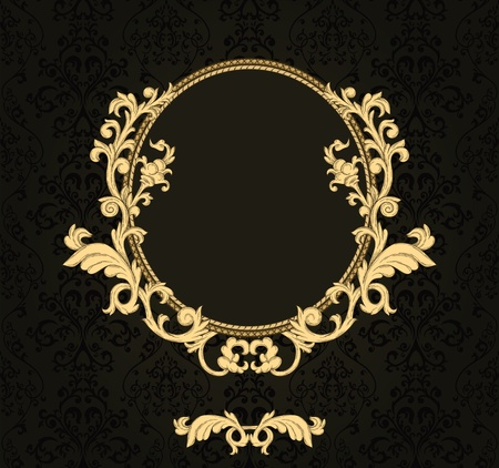 rococo: Vintage frame with damask seamless background