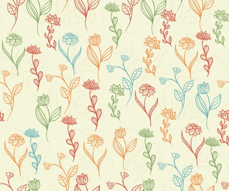 Floral seamless pattern with hand drawn flowers Stock Vector - 11500276