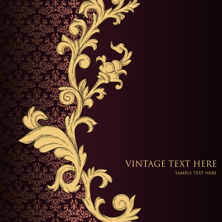 metallic background: Abstract vintage background with floral retro element