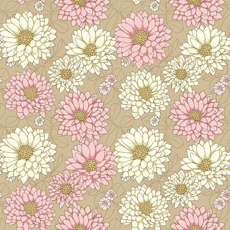 Floral background with hand drawn colorful flowers.