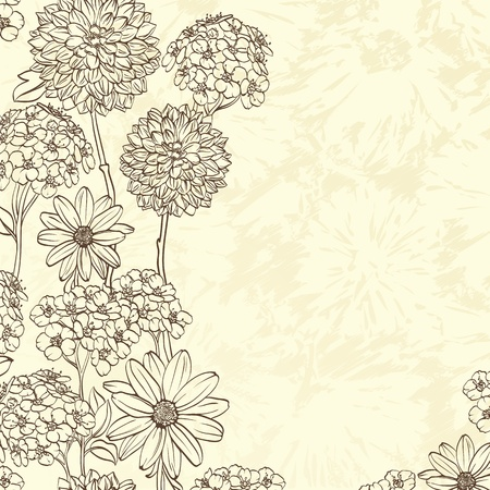 Floral background with hand drawn flowers. Vectores