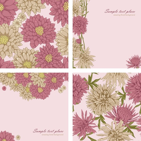 with sets of elements: Set of floral backgrounds and seamless patterns Illustration