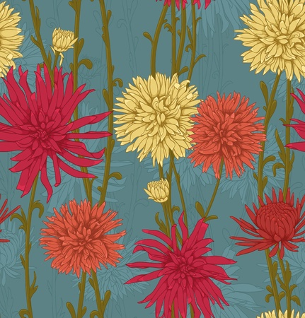 repetition: Floral seamless pattern with hand drawn flowers