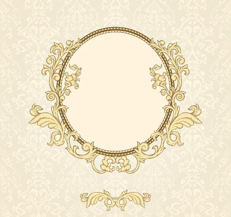 Détail rétro cadre sur répétant damassés wallpaper Banque d'images - 11500291
