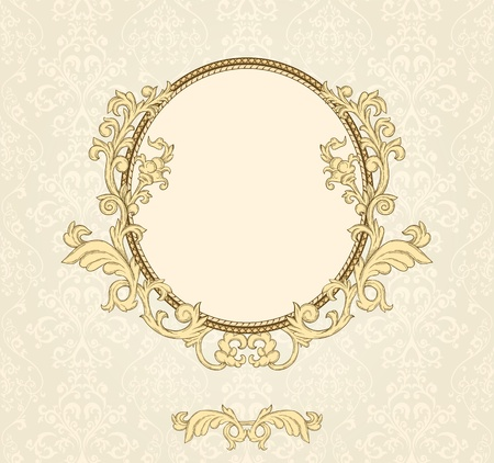 Detailed retro frame on repeating damask wallpaper Stock Vector - 11500291