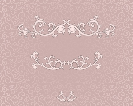 Vintage frame with floral elements on damask seamless background Иллюстрация