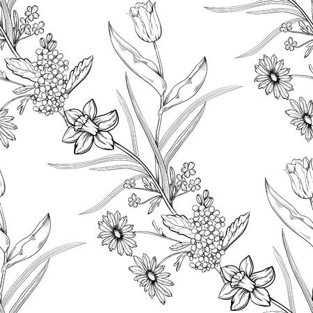 Floral seamless main fleurs dessinées Banque d'images - 11500324