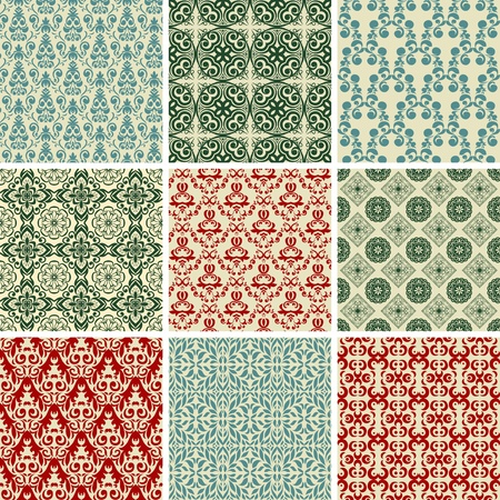 traditional pattern: Set of nine vintage seamless christmas wallpapers