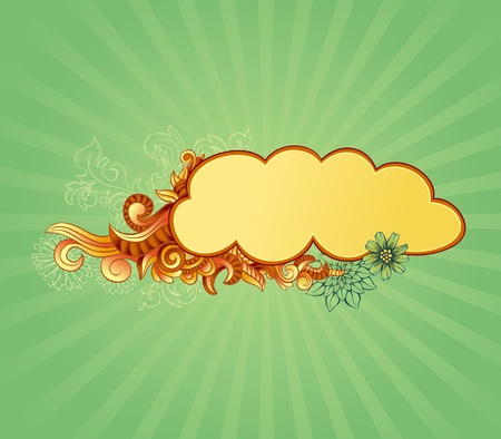 Funky frame or label on gradient green background Vector