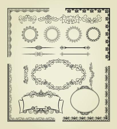 bordure de page: Ensemble d'�l�ments de conception: les �tiquettes, les bordures, cadres, etc Illustration