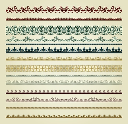 Set of vintage borders. Could be used as divider, frame, etc Stock Vector - 11500315