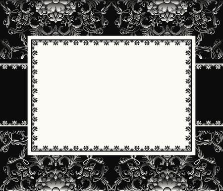 marco blanco y negro: Vintage frame o una tarjeta de invitaci�n en el fondo sin fisuras Vectores