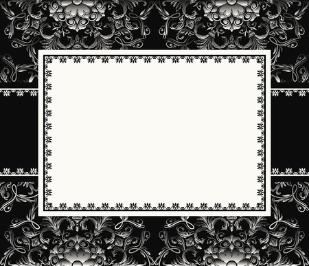 Vintage frame or invitation card on seamless background